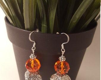 Tangerine Orange and Silver Earrings