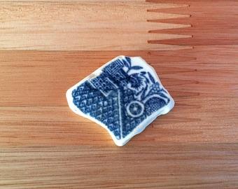 Blue and White Sea Pottery Piece, Genuine Irish Sea Pottery, Beach Pottery