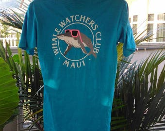 Vintage Clothing 80s, Super Cru, Made In Hawaii, USA, Whale Watchers Club, Maui, Copyrigth Poly Tees 1985