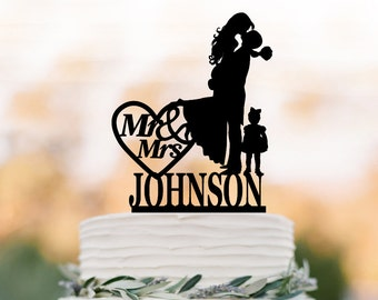personalized Wedding Cake topper with girl and mr mrs heart decor,  Bride and groom silhouette