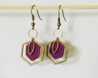 Earrings HAXAGONE leather and brass bordeaux / dregs of wine was