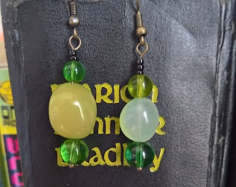 Mismatched Natural stone and glass bead earrings