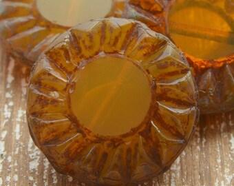 Sunflower Beads, Czech Beads, Glass Beads, Gold Beads, Czech Picasso Beads, Jewellery Supplies, Czech Flower Beads, 14mm Beads, Pack of 5