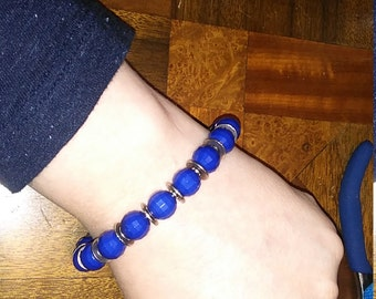 Blue and Silver Bracelet Beaded Bracelet Metal and Beads Edgy Gift for Her Great gift idea for anyone discs and spheres