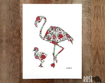 Print poster, mom and baby pink flamingo