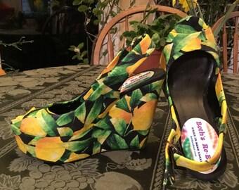 NEW Vegan Women's 6.5 platform slingback LEMON WEDGES. New vegan wedges with decoupage lemons, a fun way to step into summer!