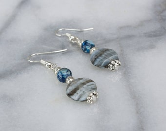 Blue and Grey Beaded Tibetan Silver Earrings, Drop Earrings
