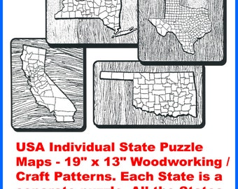 USA Individual State Puzzle Maps - Woodworking / Craft Patterns. Each State is a separate puzzle