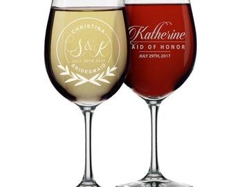 Custom Wine Glasses - Personalized Wine Glasses - Bridesmaid Gift - Bridesmaid Wine Glasses - Etched Wine Glasses -  Gifts for Bridesmaids