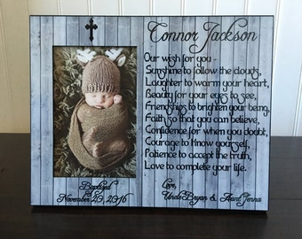 Goddaughter or Godson baptism picture frame gift personalized / Christening gifts for girl or boy // baptism gift for Goddaughter or Godson