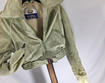 Vintage jacket motorcycle ski cropped Kitex 70's 80's metal zippers soft corduroy velour