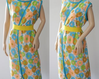 Bright 60's Wrap Around Neon Floral Dress
