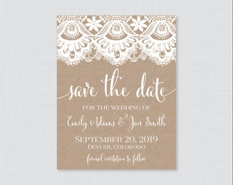 Printable OR Printed Save the Date Cards - Burlap and Lace Save our Date Cards for Wedding - Rustic Burlap Wedding Save the Date Cards 0002