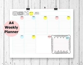 Weekly Planner Printable, A4 Weekly Planner, Weekly Calendar Printable, Filofax Binder, Undated Planner, Filofax A4, Printable Calendar,