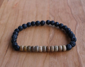 Men's Lava + Wooden Bead Bracelet