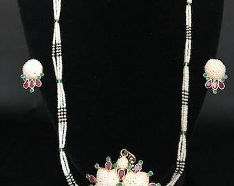 Moti Pearl Jewelry - Indian Jewelry - Moti Mala - Moti Pearl Earrings - South Indian Jewelry - Temple Jewelry - Bollywood Jewelry - Bridal -
