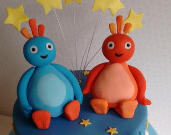 Twirlywoos cake topper, set of four, handmade, edible