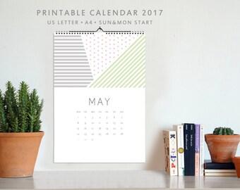 Printable Calendar 2017, Wall calendar, Printable calendar, Minimalistic calendar, Pastel Colors