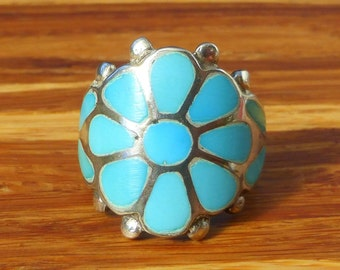 Frank Vacit Turquoise and Sterling Silver  Zuni Dishta Flower Ring