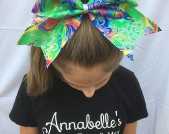 Bright Color Swirls and Sparkles Cheer Bow