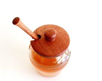 Honey Jar, Honey Dipper, Honey Pot, Wedding Honey Jar, Honey Jar Favors--Glass Jar with Handcrafted Honey Dipper and Lid in  Mahogany Wood