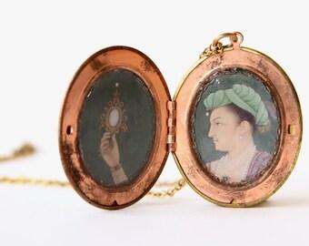 "Handmade Locket Pendant Necklace, Vintage Brass Locket, 17th Century Indian Painting by Bichitr, ""Prince Salim Holding a Mirror"""
