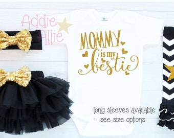 Baby Girl Clothes Take Home Outfit Mommy is my bestie Baby girl outfit Take Home Outfit Baby Girl Shower Gift Mommy's Girl Mamas bestie G4B