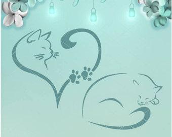 Kitty Paw Heart / Cat SVG / Paw Heart / Cat Heart / Cat Paw / Kitty Paw / Cat Decal / Paw SVG / Cat DXF / Love Cat / Cat Nap