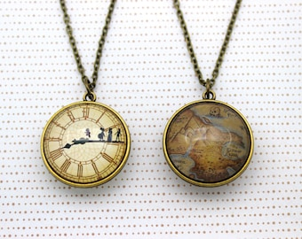 Peter Pan, Double Sided Necklace 'Off To Neverland' & 'Neverland Map' Two Sided Necklace.