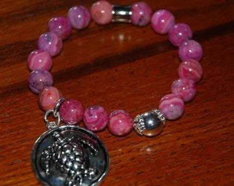 Pink Crazy Lace Agate Charm Bracelet