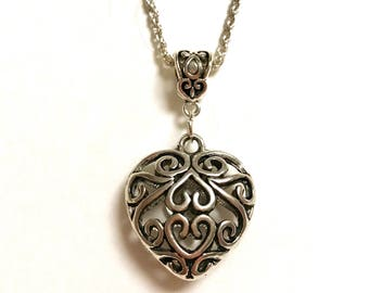 Heart Necklace- 925 Sterling Silver Chain