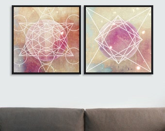 "Fine Art Wall Art Hand Embellished Framed Canvas ""Planets"" by MIND THE GAP"