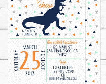 Dinosaur Invitation - DIGITAL - Roar Chomp & Chew Party Invitation - Dino Party Invitation - Birthday Invitation - Dinosaur Party Invite