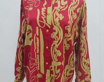 BRUNO PIATTELLI Vintage Bruno Piattelli Royalty Baroque Over Print Abstract Print Button Down Shirt Blouse Size 11