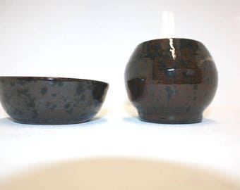 Lovely hand made mottled brown Bowl and Vase set