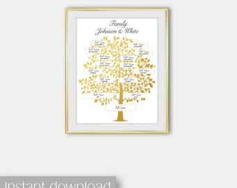 Editable Family Tree Digital Print Personalized genealogy in Gold Printable Art Wall Family Tree