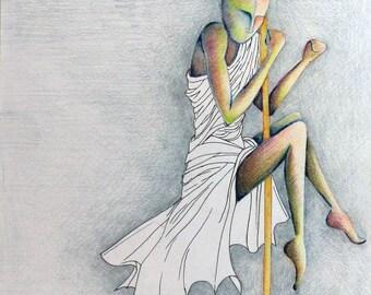 """Title: """"Pole""""-original Design Framework-pastel and ink on paper-43.5 x 33.5 cm framed"""