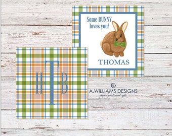 INSTANT DOWNLOAD/Printable Easter/gift tags for kids/personalized cards/GREEN plaid/3x3 bunny Easter cards