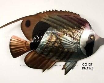Striped Butterfly Fish Metal Wall Art - CO127