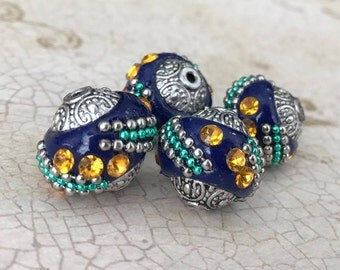 Qty4 15mm Indonesian Beads, Handmade Beads, Navy Blue With Golden Yellow Rhinestones And Silver & Green Embellishments
