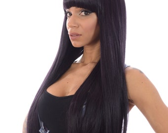 Dark Purple  Extra Long Straight Wig with Thick Fringe