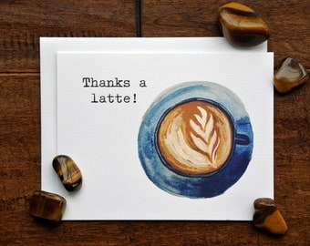Blank Note Card Set, Thank You Card, Set of 5, Latte Pun