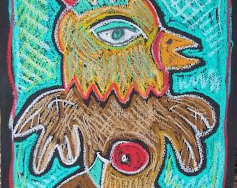 Free Range Oil Pastel Original drawing