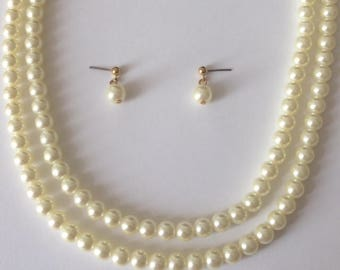 Vintage 1970's AVON Pearl & Gold Sphere Dangle Drop Earrings and Pearl Necklace Set