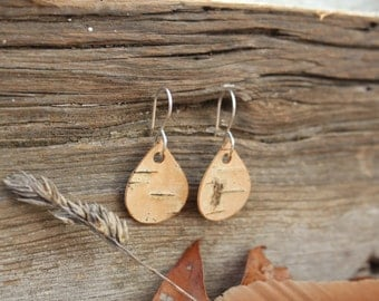Real Birch Bark Earrings FREE SHIPPING