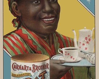 Coffee Poster, Black Art, African American Art, BD&T Coffee, Blue and Yellow Art Print, Giclee Print, Vintage Posters, Wall Art 1908