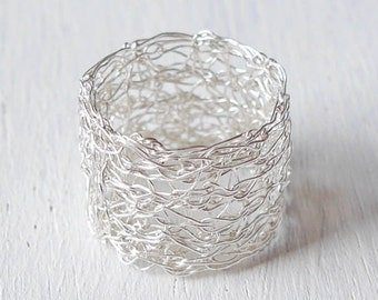 999 silver ring knitted