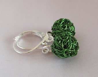 Silver earrings ball earrings green earrings trend earrings of earrings beads 925 ELfuchsArt