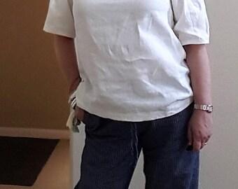 linen, off the shoulder, short sleeved, top