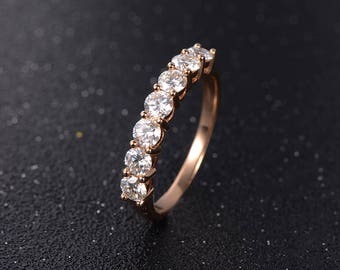 Moissanite Engagement Ring Rose Gold Stackring Anniversary Gift For Her Unique Gemstone Bridal Set Forever One Brilliant Minimalist Cluster